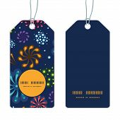 Vector holiday fireworks vertical round frame pattern tags set