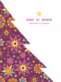 Vector colorful stars Christmas tree silhouette pattern frame card template