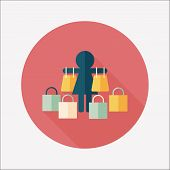 Sale Shopaholic Flat Icon With Long Shadow,eps10
