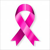 Pink ribbon isolated on white background