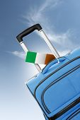 Destination Ireland. Blue Suitcase With Flag.