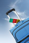 Destination Cameroon. Blue Suitcase With Flag.