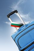 Destination Bulgaria. Blue Suitcase With Flag.
