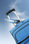 Destination Argentina. Blue Suitcase With Flag.