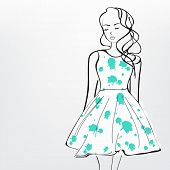 Line art of a young girl wearing stylish green clothes.