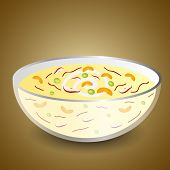 Most Delicious dessert made by fruits, cream and custard on brown background.
