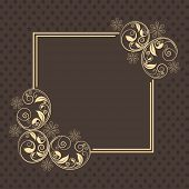 Beautiful floral design decorated frame in square shape on brown background.