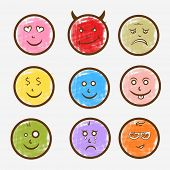 Colorful set of funny faces with different facial expressions on grey background.