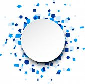 Paper round card on blue celebration confetti. Vector background.