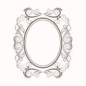 Beautiful floral design decorated blank frame in oval shape.