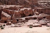 Beautiful red rock formations in Petra Jordan.