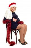 pregnant woman woman in santa hat on white isolated