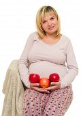 pregnant woman with apples isolated