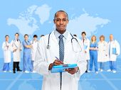 African-American black doctor man over blue background.