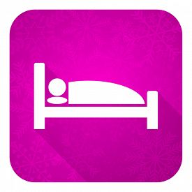 stock photo of flat-bed  - hotel violet flat icon - JPG