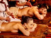 image of ayurveda  - Couple  having oil Ayurveda spa treatment - JPG