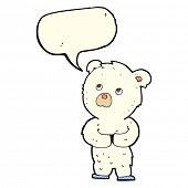 image of bear-cub  - cartoon polar bear cub with speech bubble - JPG