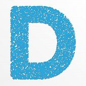 stock photo of letter d  - Vector colorful English or Latin alphabet items with grain texture - JPG