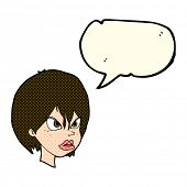 pic of annoying  - cartoon annoyed woman with speech bubble - JPG