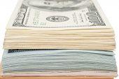 picture of american money  - Stack of money american hundred dollar bills - JPG