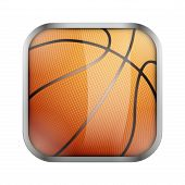 stock photo of basketball  - Square icon for basketball sports application or games - JPG