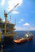 stock photo of offshore  - Crane operation on offshore construction platform - JPG