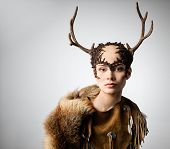 image of antlers  - Mythical turnskin woman with deer antlers  - JPG