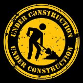 stock photo of shovel  - Round icon with the words Under Construction with a man shoveling in black and yellow - JPG
