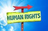 stock photo of human rights  - Human Rights sign with sky background - JPG