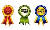 image of rosettes  - Elegant shiny award ribbon rosettes with than you note inside - JPG