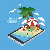 stock photo of isometric  - summer recreation concept 3d isometric infographic with tablet showing beach scene - JPG
