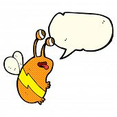 image of bee cartoon  - cartoon funny bee with speech bubble - JPG