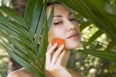 pic of facial  - Beautiful caucasian woman having fresh papaya natural facial mask apply skin care and wellness - JPG