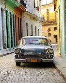 Old American Car Parked In Havana Street