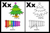 stock photo of letter x  - Kids alphabet coloring book page with outlined clip arts to color - JPG