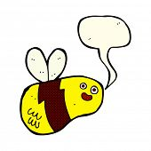 stock photo of bee cartoon  - cartoon bee with speech bubble - JPG