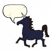 image of unicorn  - cartoon unicorn with speech bubble - JPG