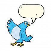 stock photo of bluebird  - cartoon dancing bluebird with speech bubble - JPG