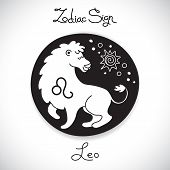 picture of leo  - Leo zodiac sign of horoscope circle emblem in cartoon style - JPG