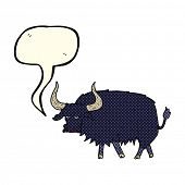 stock photo of annoying  - cartoon annoyed hairy ox with speech bubble - JPG