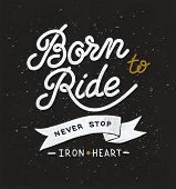 image of silkscreening  - Vintage hand drawn lettering on the theme of races and bikers - JPG