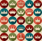 picture of crown jewels  - Seamlees crowns pattern of color design elements - JPG