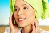 picture of turban  - Beautiful woman in bathrobe and turban - JPG