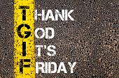 pic of friday  - Acronym TGIF as Thank God It