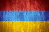 picture of armenia  - Armenia flag or Armenian banner on wooden boards background - JPG