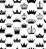 stock photo of crown jewels  - Seamless crowns pattern of black design elements - JPG