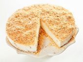 pic of cheesecake  - Cheesecake with nuts isolated on white background - JPG