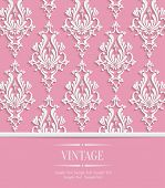 stock photo of damask  - Vector Pink 3d Vintage Background for Invitation or Greeting Card with Damask Floral Pattern - JPG