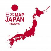 picture of kinky  - Regions map of Japan with flag - JPG