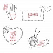 picture of tailoring  - Set of icons emblems and labels for handmade tailor hand sewing and knitting theme design - JPG